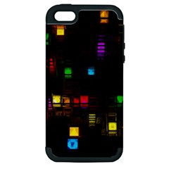 Abstract 3d Cg Digital Art Colors Cubes Square Shapes Pattern Dark Apple iPhone 5 Hardshell Case (PC+Silicone)