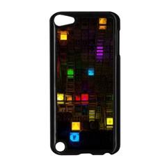 Abstract 3d Cg Digital Art Colors Cubes Square Shapes Pattern Dark Apple iPod Touch 5 Case (Black)