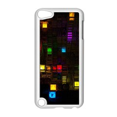 Abstract 3d Cg Digital Art Colors Cubes Square Shapes Pattern Dark Apple iPod Touch 5 Case (White)