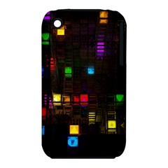 Abstract 3d Cg Digital Art Colors Cubes Square Shapes Pattern Dark iPhone 3S/3GS