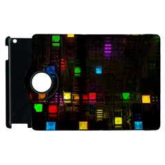 Abstract 3d Cg Digital Art Colors Cubes Square Shapes Pattern Dark Apple Ipad 3/4 Flip 360 Case