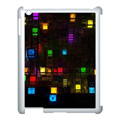 Abstract 3d Cg Digital Art Colors Cubes Square Shapes Pattern Dark Apple Ipad 3/4 Case (white)