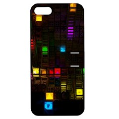 Abstract 3d Cg Digital Art Colors Cubes Square Shapes Pattern Dark Apple iPhone 5 Hardshell Case with Stand