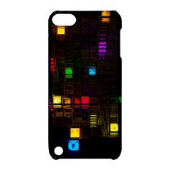Abstract 3d Cg Digital Art Colors Cubes Square Shapes Pattern Dark Apple iPod Touch 5 Hardshell Case with Stand