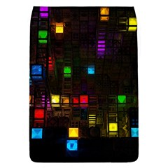 Abstract 3d Cg Digital Art Colors Cubes Square Shapes Pattern Dark Flap Covers (l)
