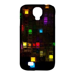 Abstract 3d Cg Digital Art Colors Cubes Square Shapes Pattern Dark Samsung Galaxy S4 Classic Hardshell Case (PC+Silicone)
