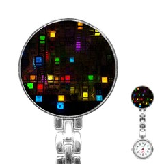 Abstract 3d Cg Digital Art Colors Cubes Square Shapes Pattern Dark Stainless Steel Nurses Watch