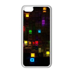 Abstract 3d Cg Digital Art Colors Cubes Square Shapes Pattern Dark Apple iPhone 5C Seamless Case (White)