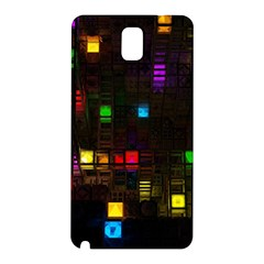 Abstract 3d Cg Digital Art Colors Cubes Square Shapes Pattern Dark Samsung Galaxy Note 3 N9005 Hardshell Back Case