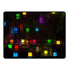 Abstract 3d Cg Digital Art Colors Cubes Square Shapes Pattern Dark Double Sided Fleece Blanket (small)