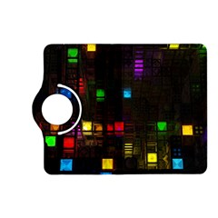 Abstract 3d Cg Digital Art Colors Cubes Square Shapes Pattern Dark Kindle Fire Hd (2013) Flip 360 Case