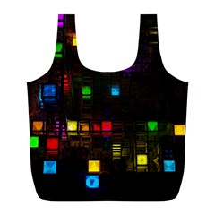 Abstract 3d Cg Digital Art Colors Cubes Square Shapes Pattern Dark Full Print Recycle Bags (L)