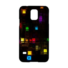 Abstract 3d Cg Digital Art Colors Cubes Square Shapes Pattern Dark Samsung Galaxy S5 Hardshell Case