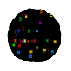 Abstract 3d Cg Digital Art Colors Cubes Square Shapes Pattern Dark Standard 15  Premium Flano Round Cushions