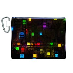 Abstract 3d Cg Digital Art Colors Cubes Square Shapes Pattern Dark Canvas Cosmetic Bag (XL)