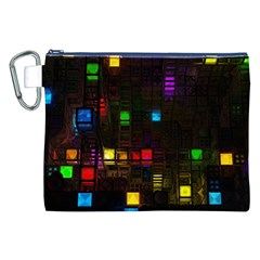 Abstract 3d Cg Digital Art Colors Cubes Square Shapes Pattern Dark Canvas Cosmetic Bag (XXL)