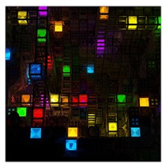 Abstract 3d Cg Digital Art Colors Cubes Square Shapes Pattern Dark Large Satin Scarf (square)