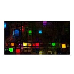 Abstract 3d Cg Digital Art Colors Cubes Square Shapes Pattern Dark Satin Wrap