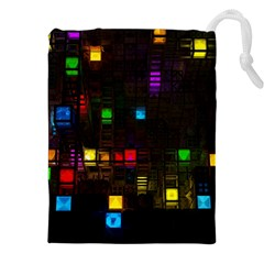 Abstract 3d Cg Digital Art Colors Cubes Square Shapes Pattern Dark Drawstring Pouches (XXL)