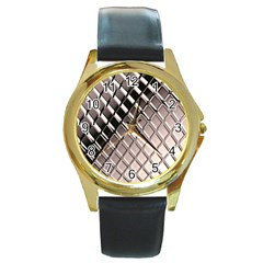 3d Abstract Pattern Round Gold Metal Watch