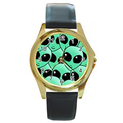 Alien Round Gold Metal Watch