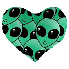 Alien Large 19  Premium Flano Heart Shape Cushions