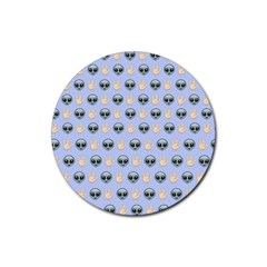 Alien Pattern Rubber Round Coaster (4 Pack)