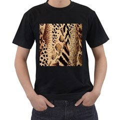 Animal Fabric Patterns Men s T-Shirt (Black) (Two Sided)