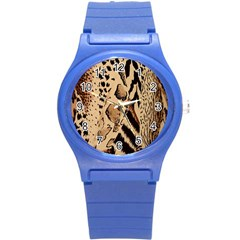 Animal Fabric Patterns Round Plastic Sport Watch (S)