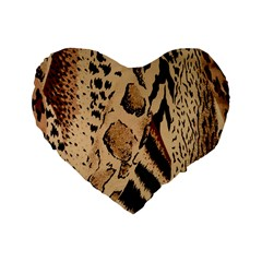 Animal Fabric Patterns Standard 16  Premium Flano Heart Shape Cushions