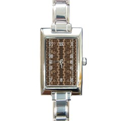 African Style Vector Pattern Rectangle Italian Charm Watch