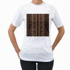 African Style Vector Pattern Women s T-Shirt (White) (Two Sided)