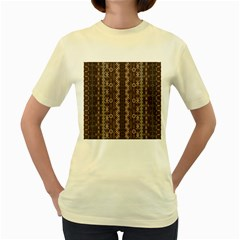 African Style Vector Pattern Women s Yellow T Shirt