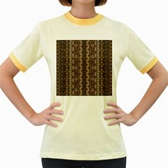 African Style Vector Pattern Women s Fitted Ringer T-Shirts