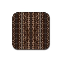 African Style Vector Pattern Rubber Square Coaster (4 pack)