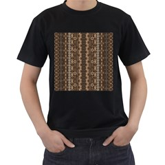 African Style Vector Pattern Men s T-Shirt (Black) (Two Sided)
