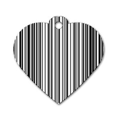 Barcode Pattern Dog Tag Heart (One Side)
