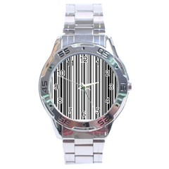 Barcode Pattern Stainless Steel Analogue Watch