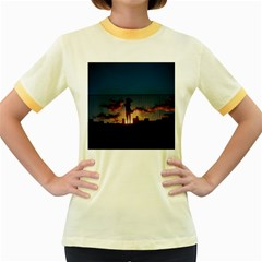 Art Sunset Anime Afternoon Women s Fitted Ringer T Shirts
