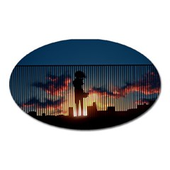 Art Sunset Anime Afternoon Oval Magnet