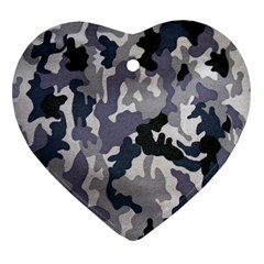 Army Camo Pattern Heart Ornament (two Sides)