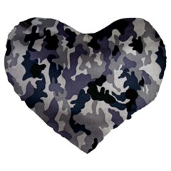Army Camo Pattern Large 19  Premium Heart Shape Cushions