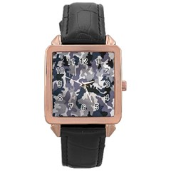 Army Camo Pattern Rose Gold Leather Watch