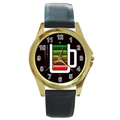 Black Energy Battery Life Round Gold Metal Watch