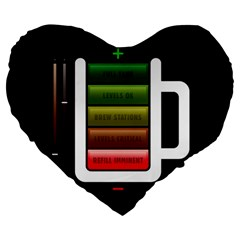 Black Energy Battery Life Large 19  Premium Heart Shape Cushions
