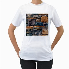 Brick Wall Pattern Women s T Shirt (white) (two Sided)