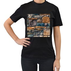 Brick Wall Pattern Women s T Shirt (black) (two Sided)