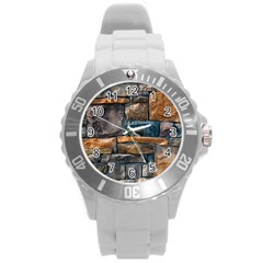 Brick Wall Pattern Round Plastic Sport Watch (L)