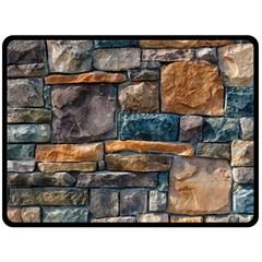 Brick Wall Pattern Double Sided Fleece Blanket (Large)