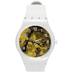 Colorful The Beautiful Of Traditional Art Indonesian Batik Pattern Round Plastic Sport Watch (m)
